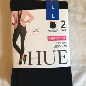 NWT HUE two-pack cotton leggings (size L)